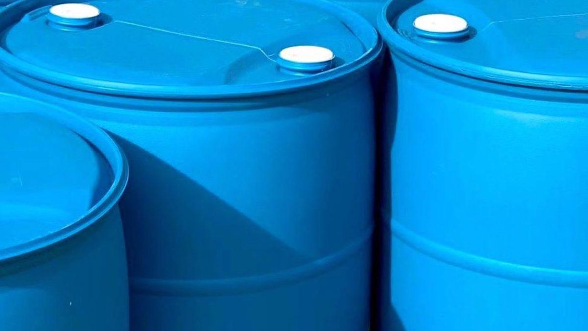 blue rain barrels
